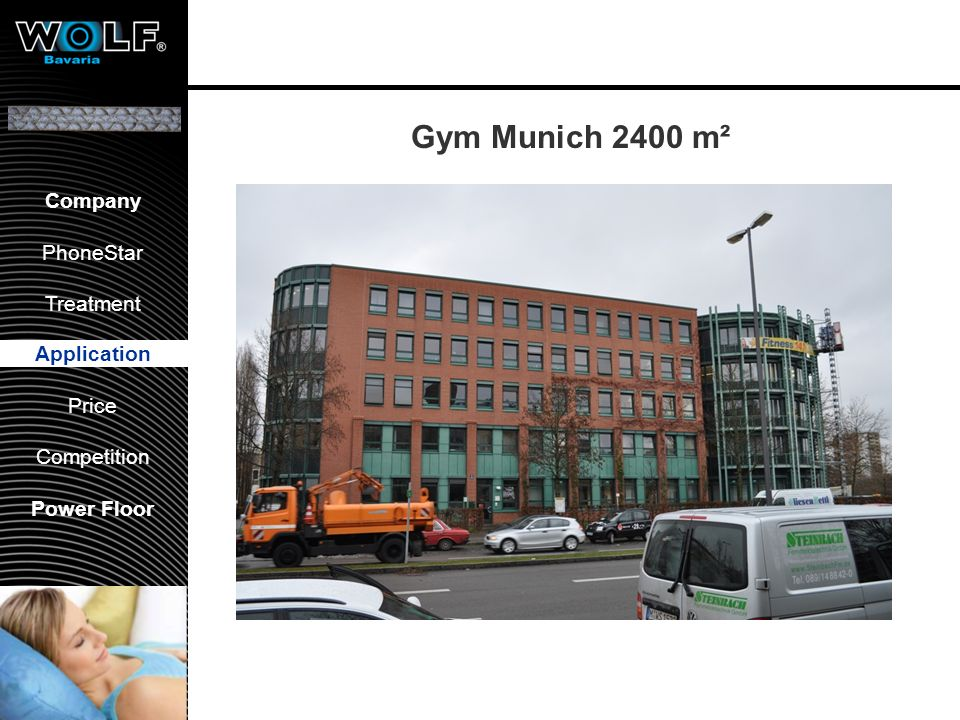 Gym Munich 2400 m² Application Floor construction: Parquet floating