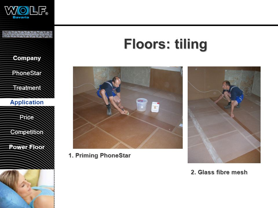 Floors: tiling Application 3. render 4. tiling