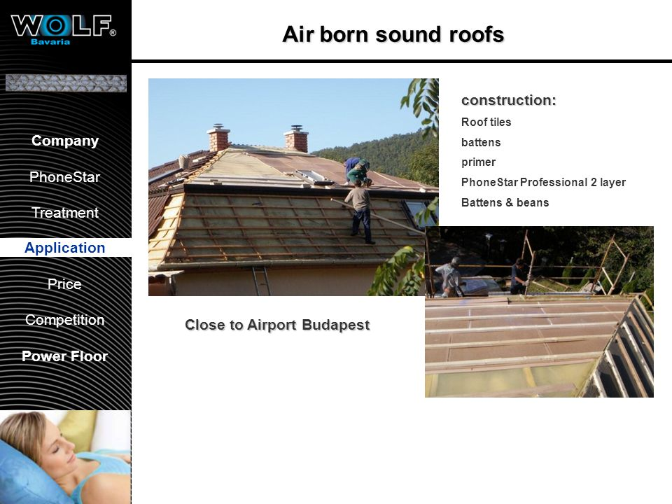 Benefits Application 36 dB (Rw, Ctr -4) AIRBORNE sound insulation