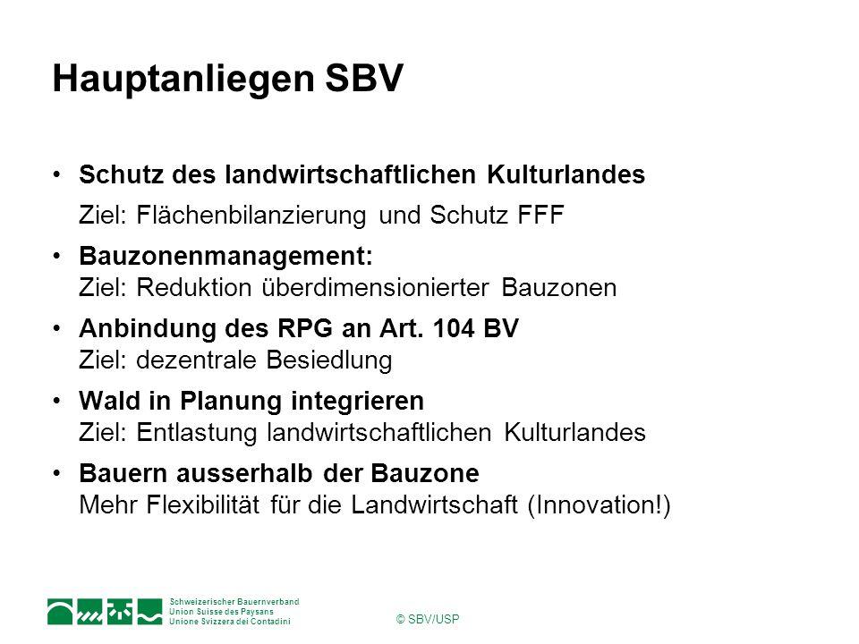 Hauptanliegen SBV Schutz des landwirtschaftlichen Kulturlandes