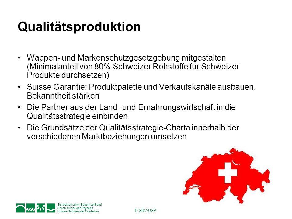 Qualitätsproduktion Wappen- und Markenschutzgesetzgebung mitgestalten (Minimalanteil von 80% Schweizer Rohstoffe für Schweizer Produkte durchsetzen)