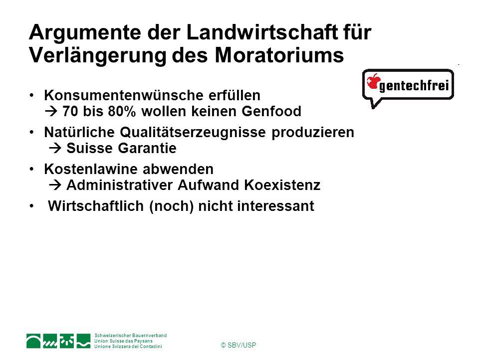 Argumente der Landwirtschaft für Verlängerung des Moratoriums