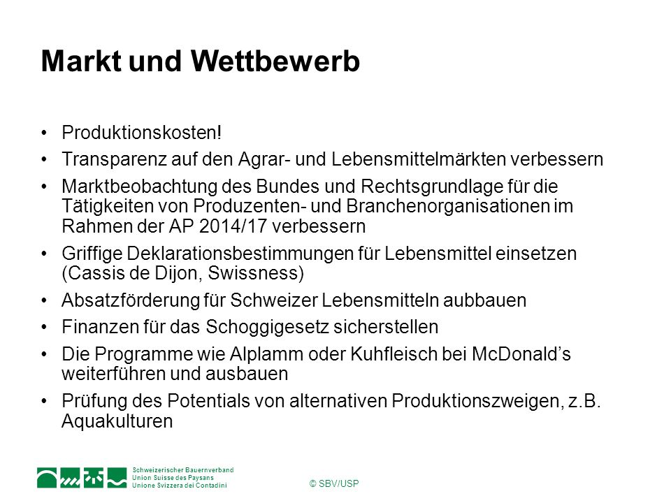 Markt und Wettbewerb Produktionskosten!
