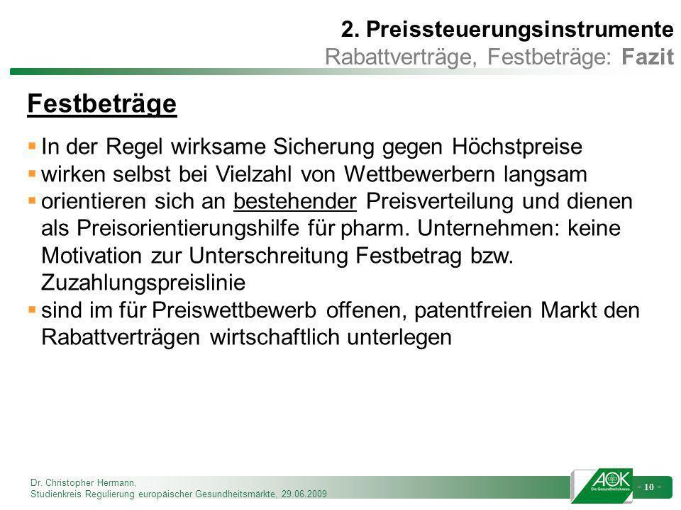 Festbeträge 2. Preissteuerungsinstrumente