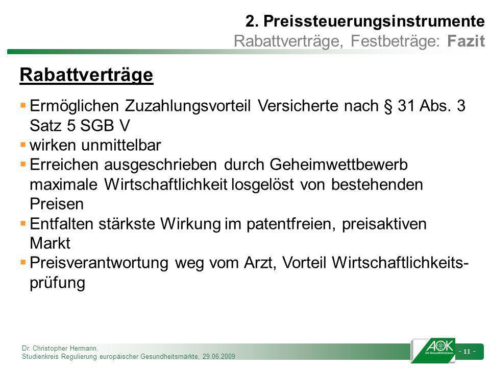 Rabattverträge 2. Preissteuerungsinstrumente