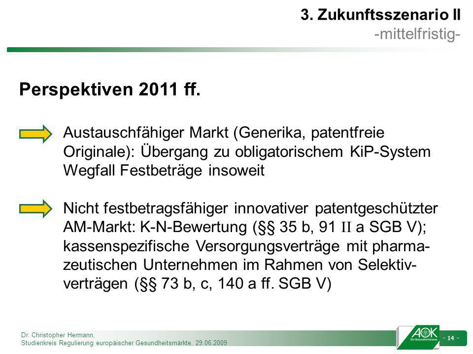 Perspektiven 2011 ff. 3. Zukunftsszenario II -mittelfristig-