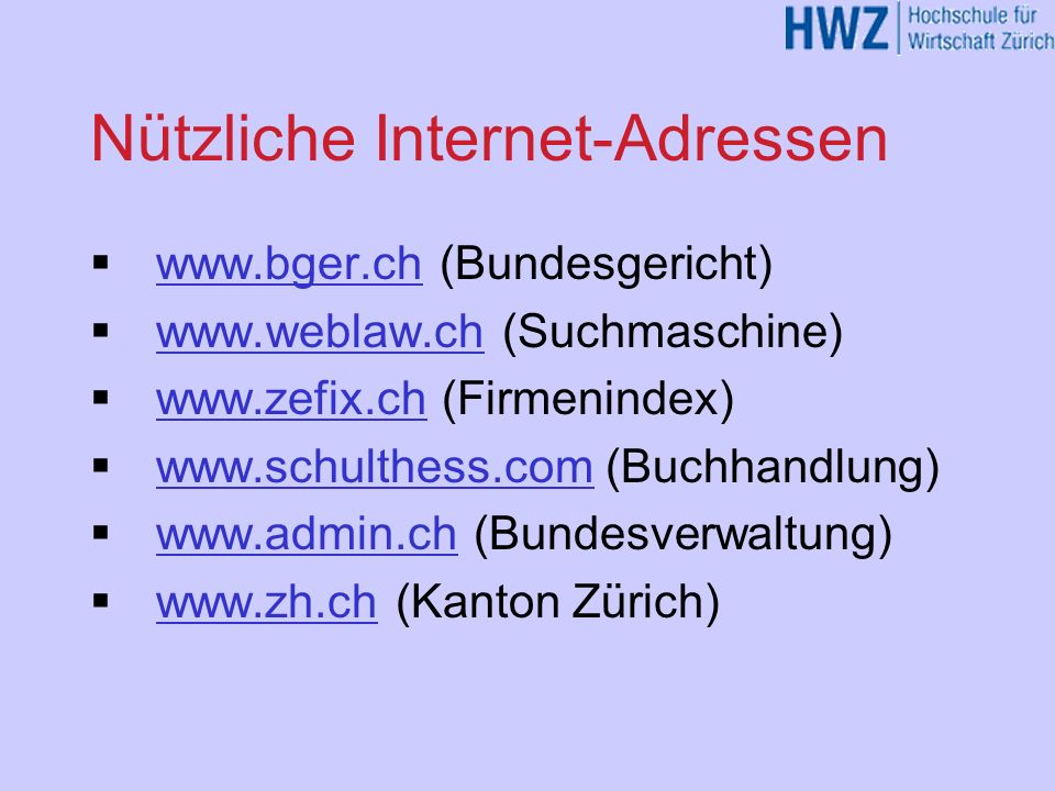 Nützliche Internet-Adressen