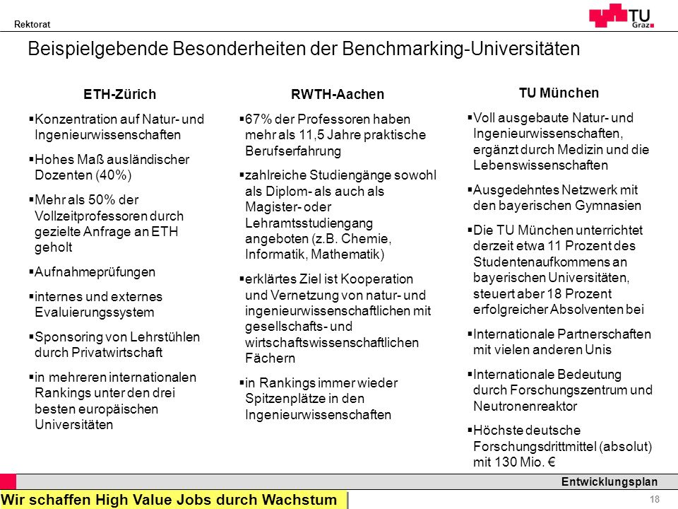 Beispielgebende Besonderheiten der Benchmarking-Universitäten