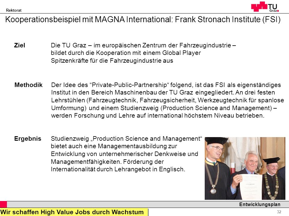 Kooperationsbeispiel mit MAGNA International: Frank Stronach Institute (FSI)