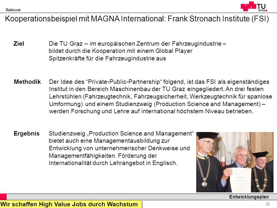 Kooperationsbeispiel mit MAGNA International: Frank Stronach Institute (FSI)