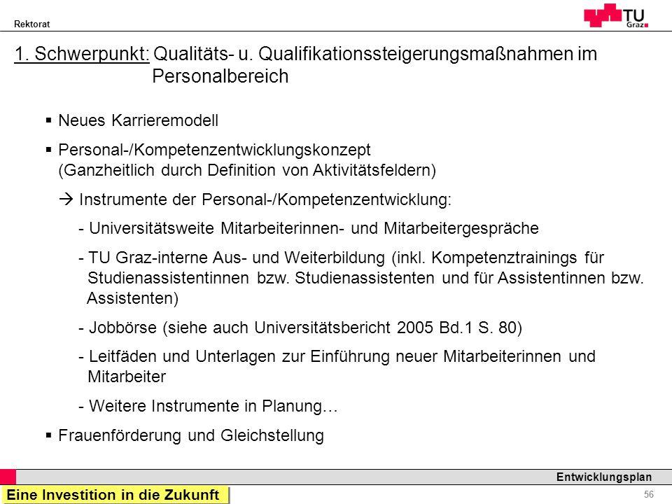 1. Schwerpunkt: Qualitäts- u. Qualifikationssteigerungsmaßnahmen im