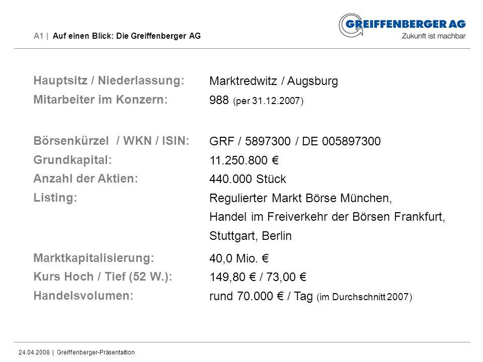 A1 | Auf einen Blick: Die Greiffenberger AG