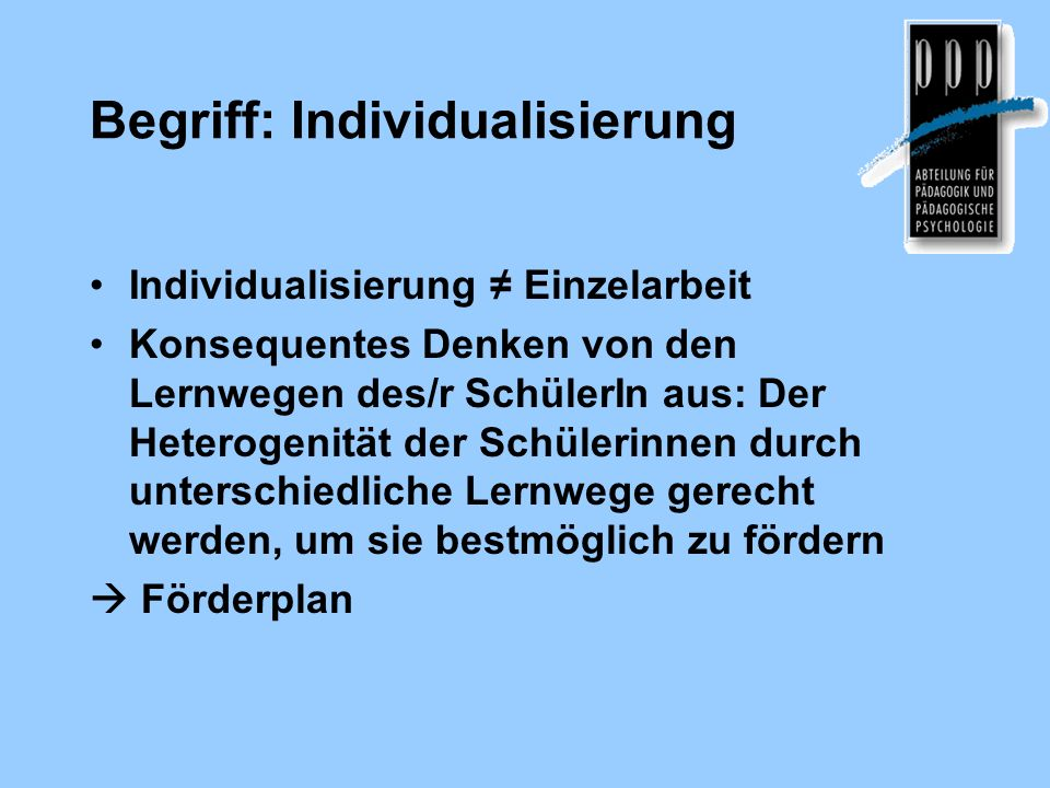 Begriff: Individualisierung