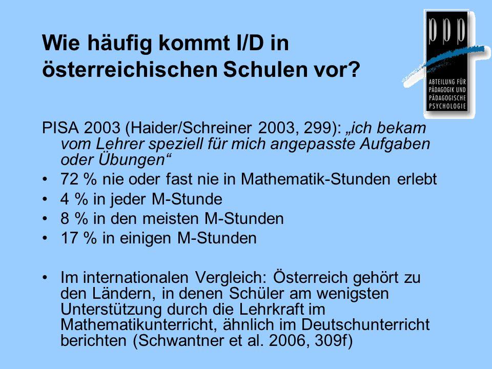 Wie häufig kommt I/D in österreichischen Schulen vor