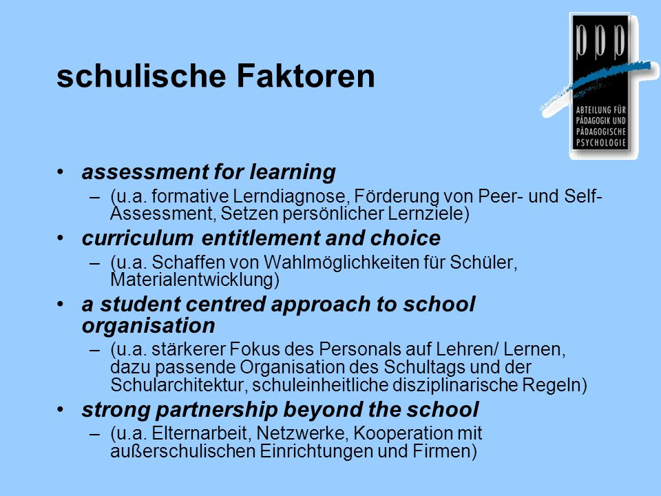 schulische Faktoren assessment for learning