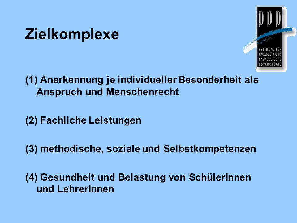 Zielkomplexe (1) Anerkennung je individueller Besonderheit als Anspruch und Menschenrecht. (2) Fachliche Leistungen.