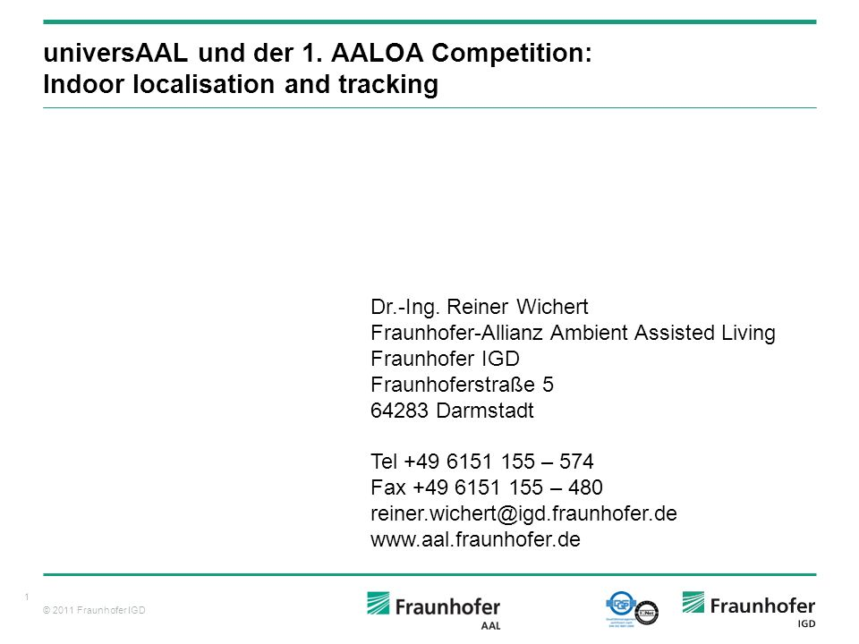 universAAL und der 1. AALOA Competition: Indoor localisation and tracking