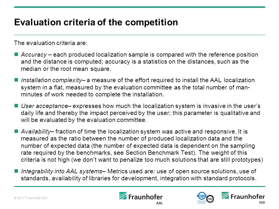 Evaluation criteria of the competition