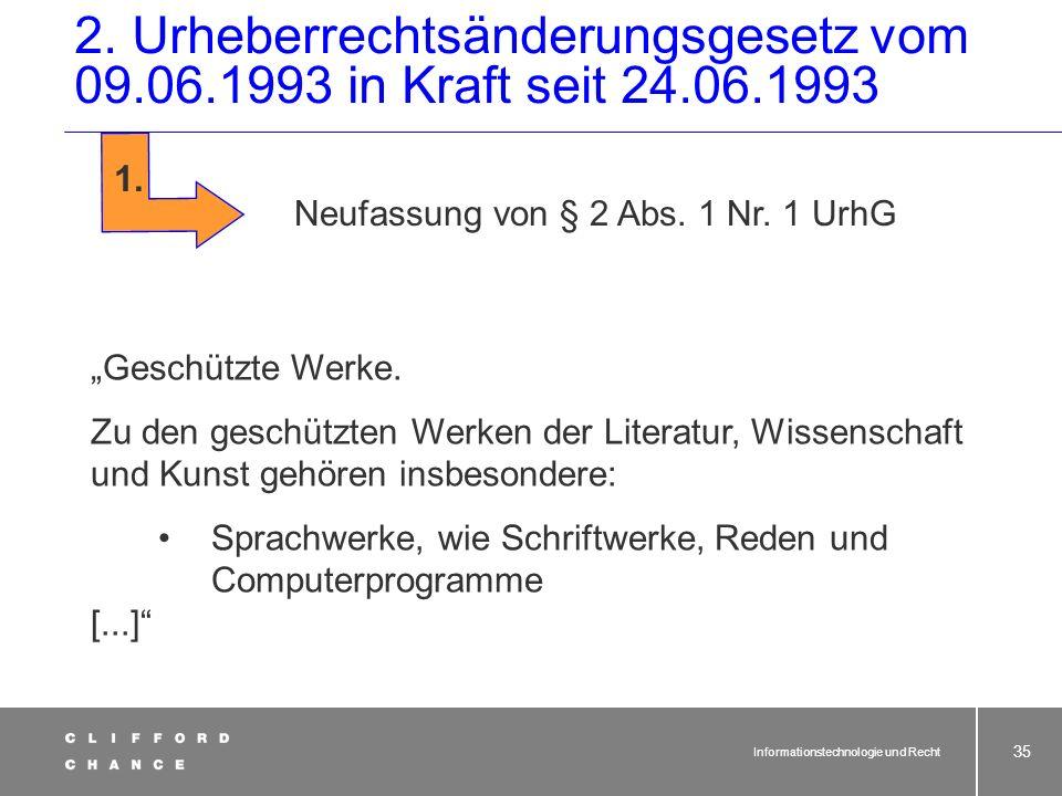 2. Urheberrechtsänderungsgesetz vom 09. 06. 1993 in Kraft seit 24. 06