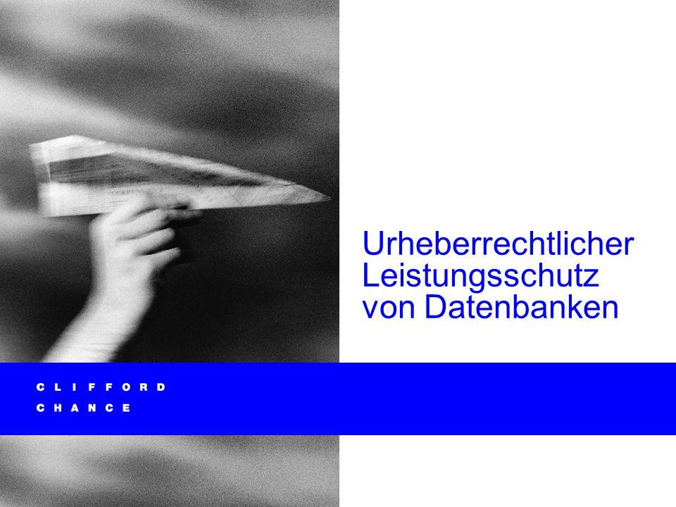 Schutz von Datenbanken § 87a UrhG*