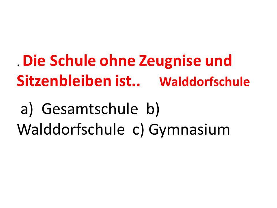 a) Gesamtschule b) Walddorfschule c) Gymnasium