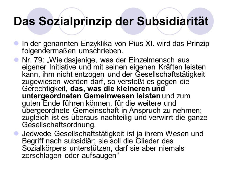 Das Sozialprinzip der Subsidiarität