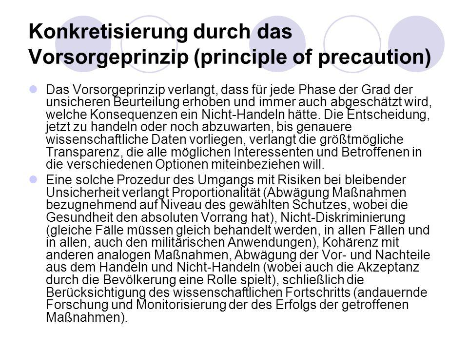 Konkretisierung durch das Vorsorgeprinzip (principle of precaution)