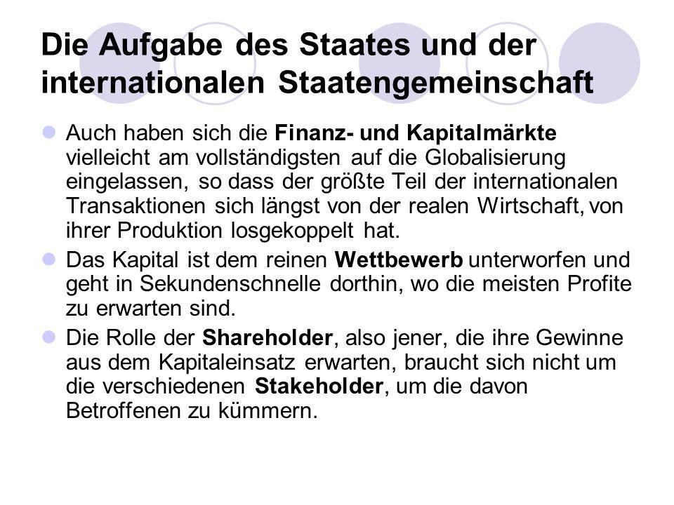 Die Aufgabe des Staates und der internationalen Staatengemeinschaft