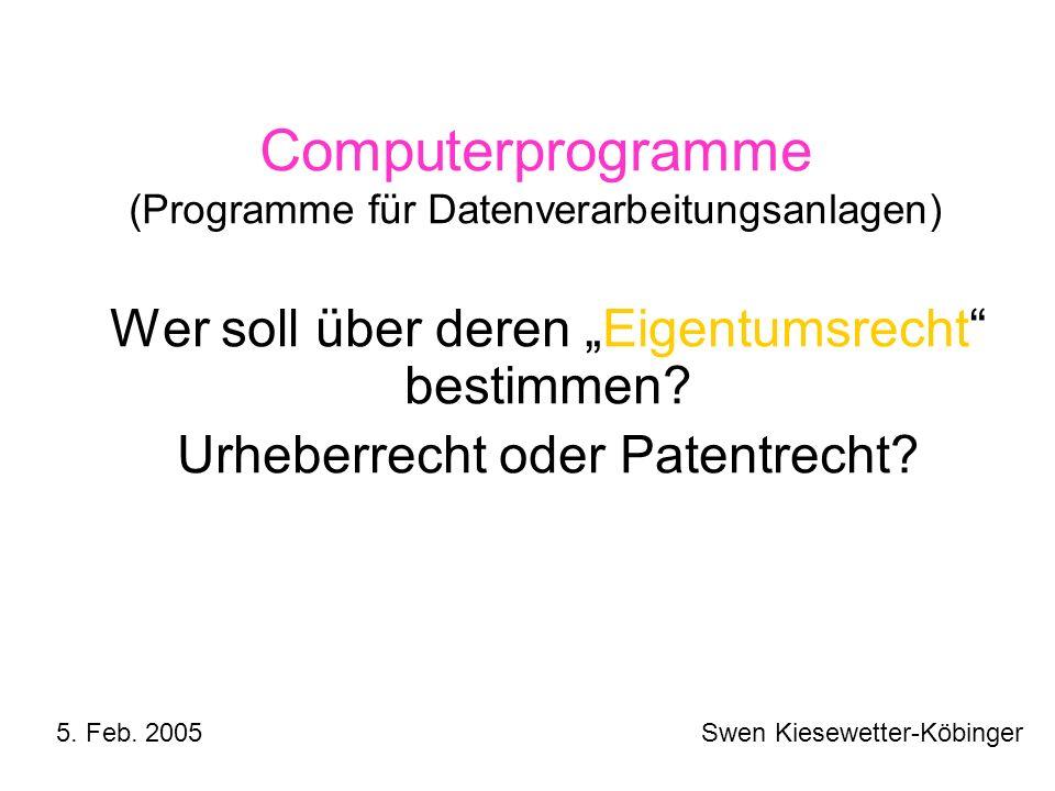Computerprogramme (Programme für Datenverarbeitungsanlagen)
