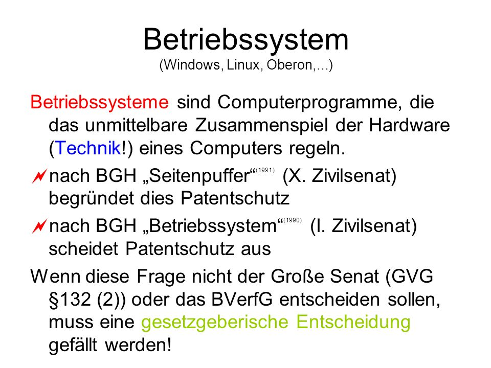 Betriebssystem (Windows, Linux, Oberon,...)