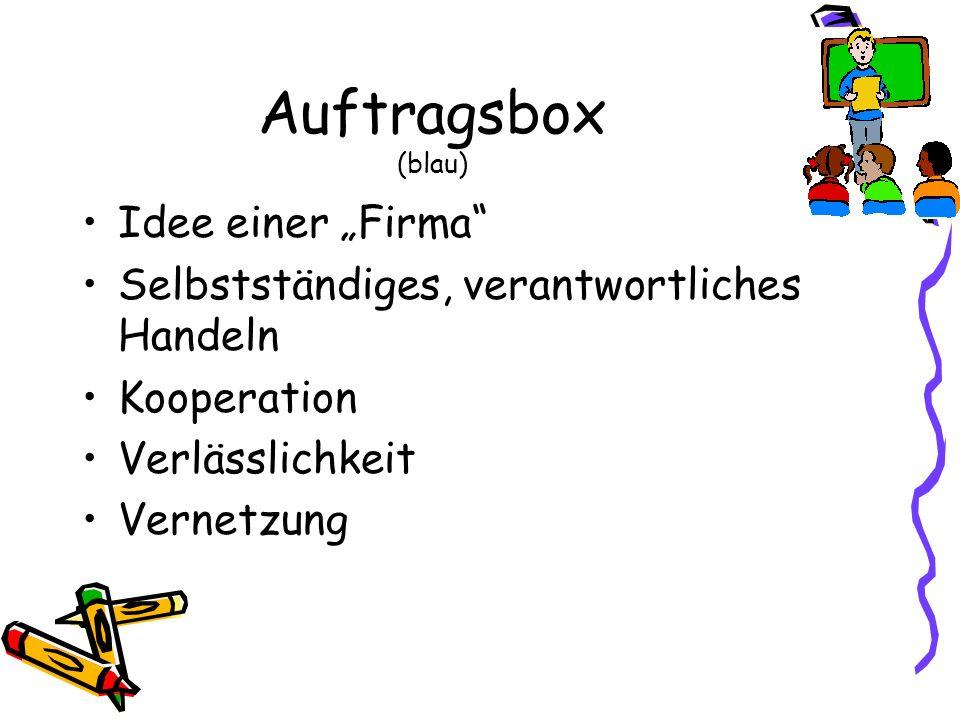 """Auftragsbox (blau) Idee einer """"Firma"""
