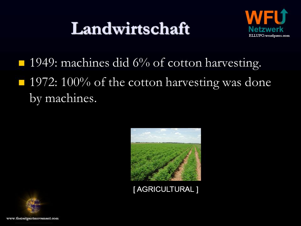 Landwirtschaft 1949: machines did 6% of cotton harvesting.