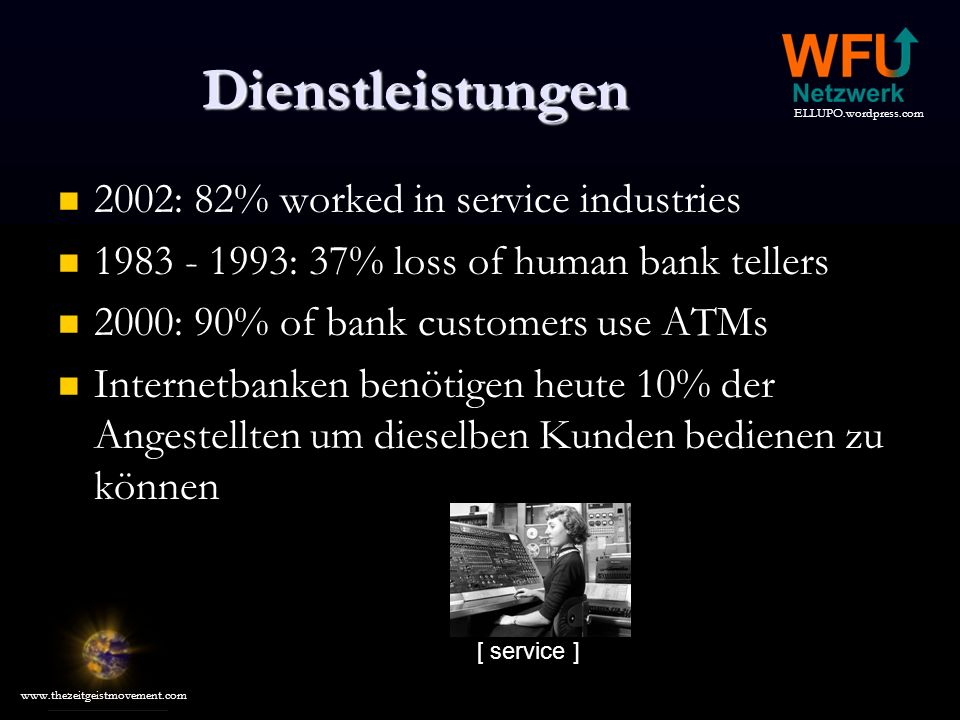 Dienstleistungen 2002: 82% worked in service industries