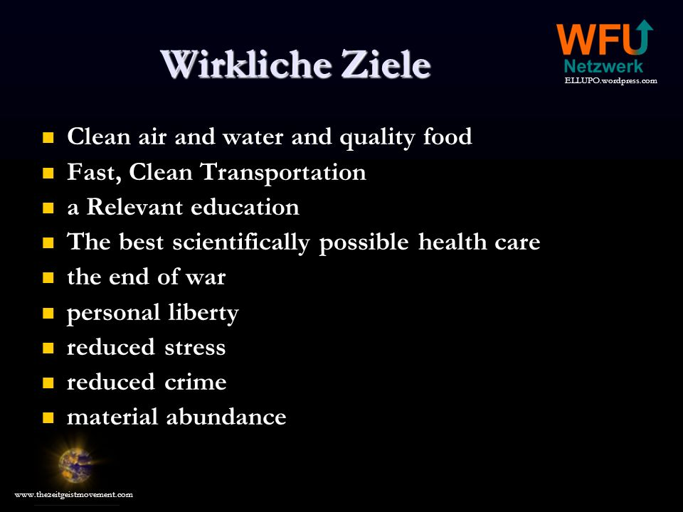 Wirkliche Ziele Clean air and water and quality food