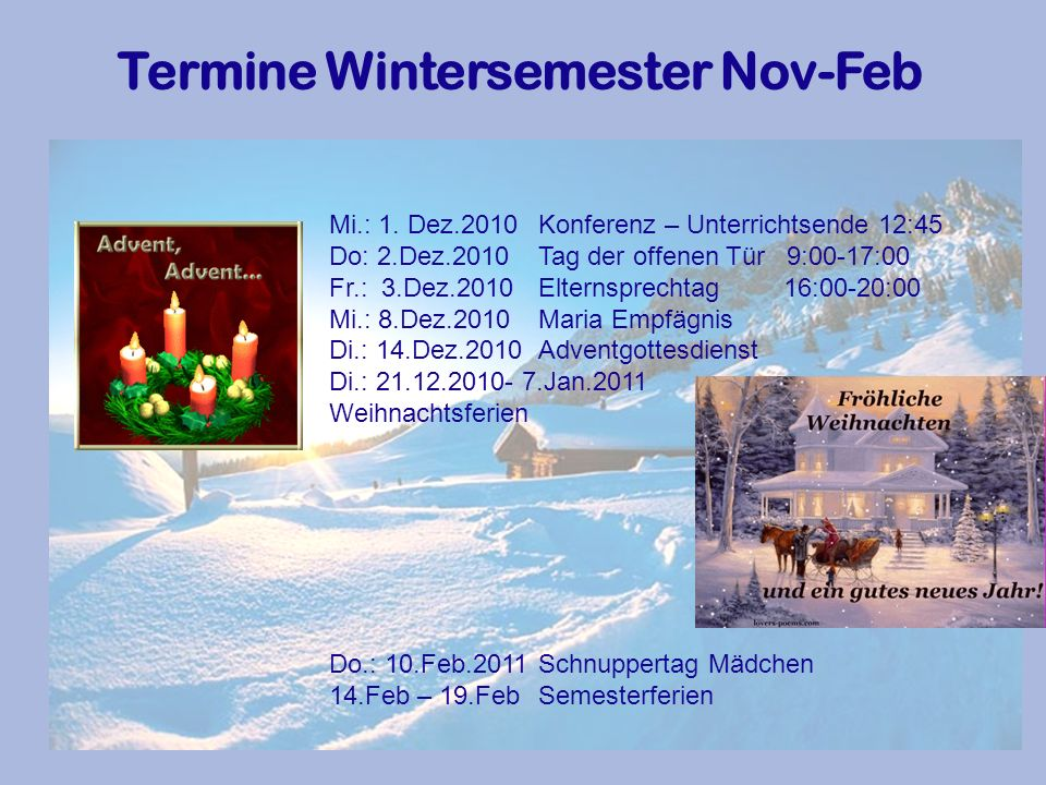 Termine Wintersemester Nov-Feb