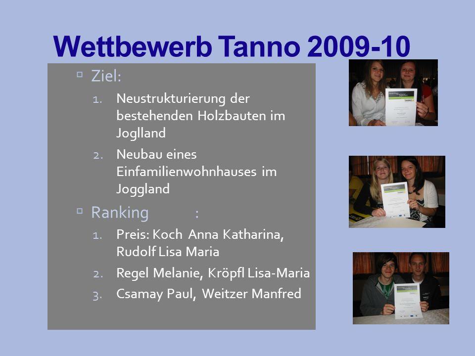 Wettbewerb Tanno 2009-10 Ziel: Ranking :