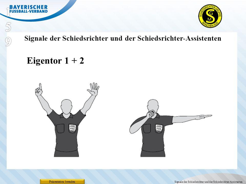 159 Signale der Schiedsrichter und der Schiedsrichter-Assistenten. Eigentor 1 + 2. Präsentation beenden.