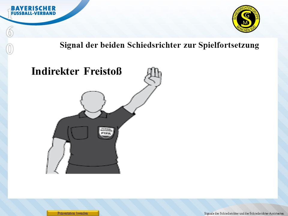 160 Signal der beiden Schiedsrichter zur Spielfortsetzung. Indirekter Freistoß. Präsentation beenden.