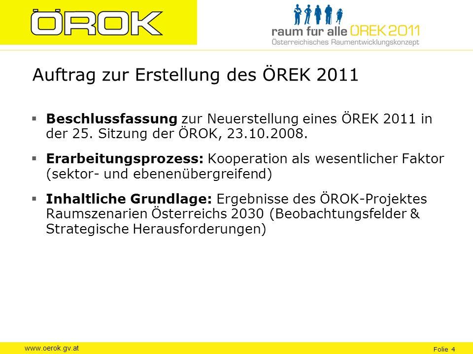 Auftrag zur Erstellung des ÖREK 2011