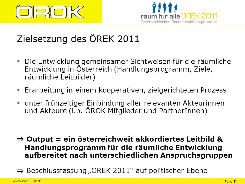 Zielsetzung des ÖREK 2011