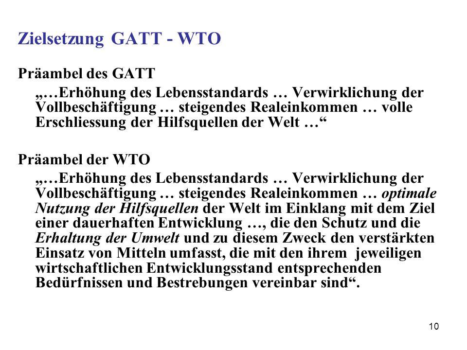 Zielsetzung GATT - WTO Präambel des GATT