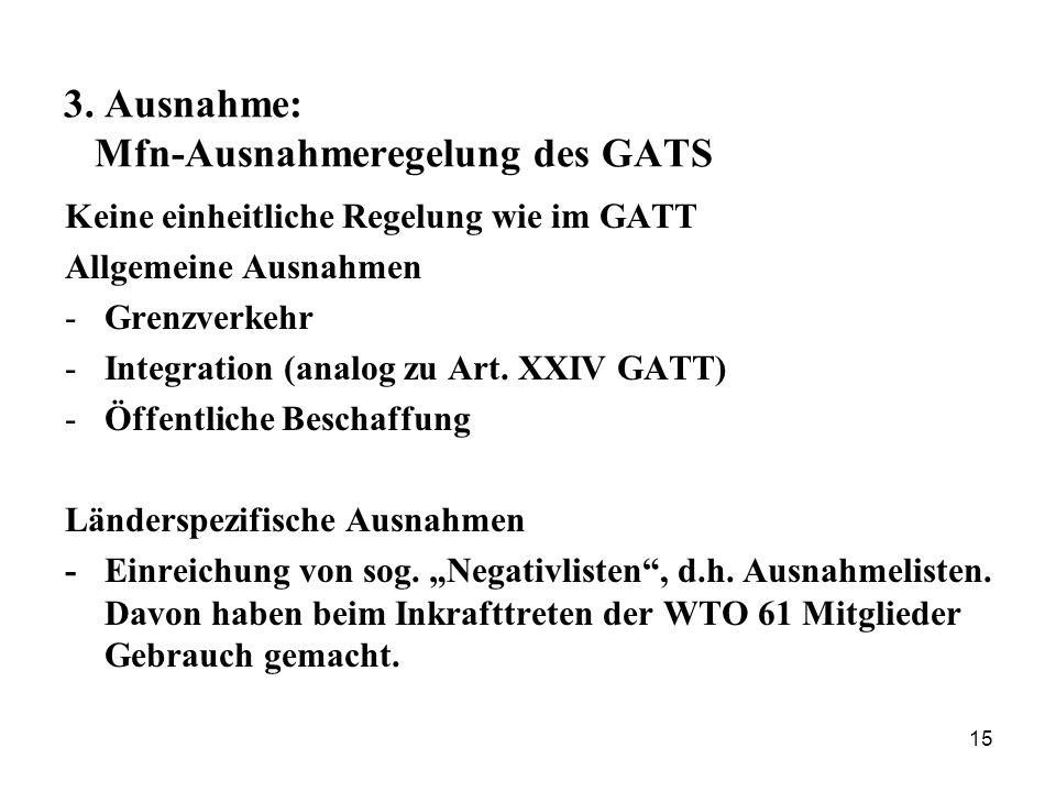 3. Ausnahme: Mfn-Ausnahmeregelung des GATS