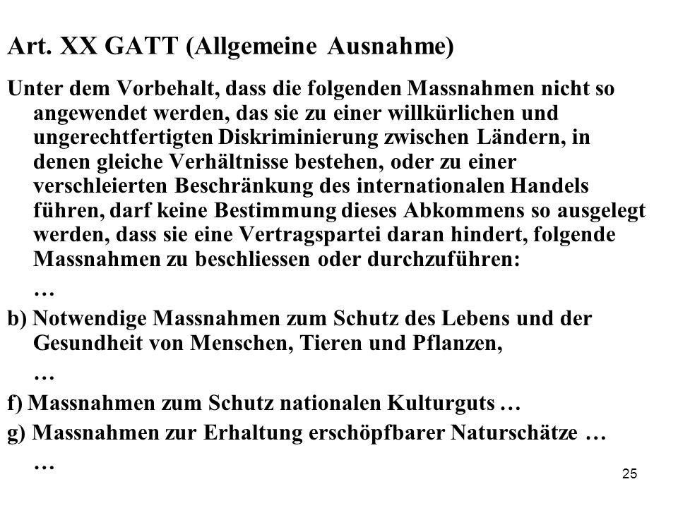 Art. XX GATT (Allgemeine Ausnahme)