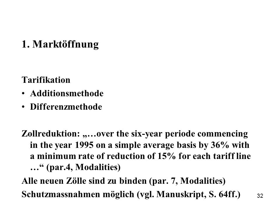 1. Marktöffnung Tarifikation Additionsmethode Differenzmethode