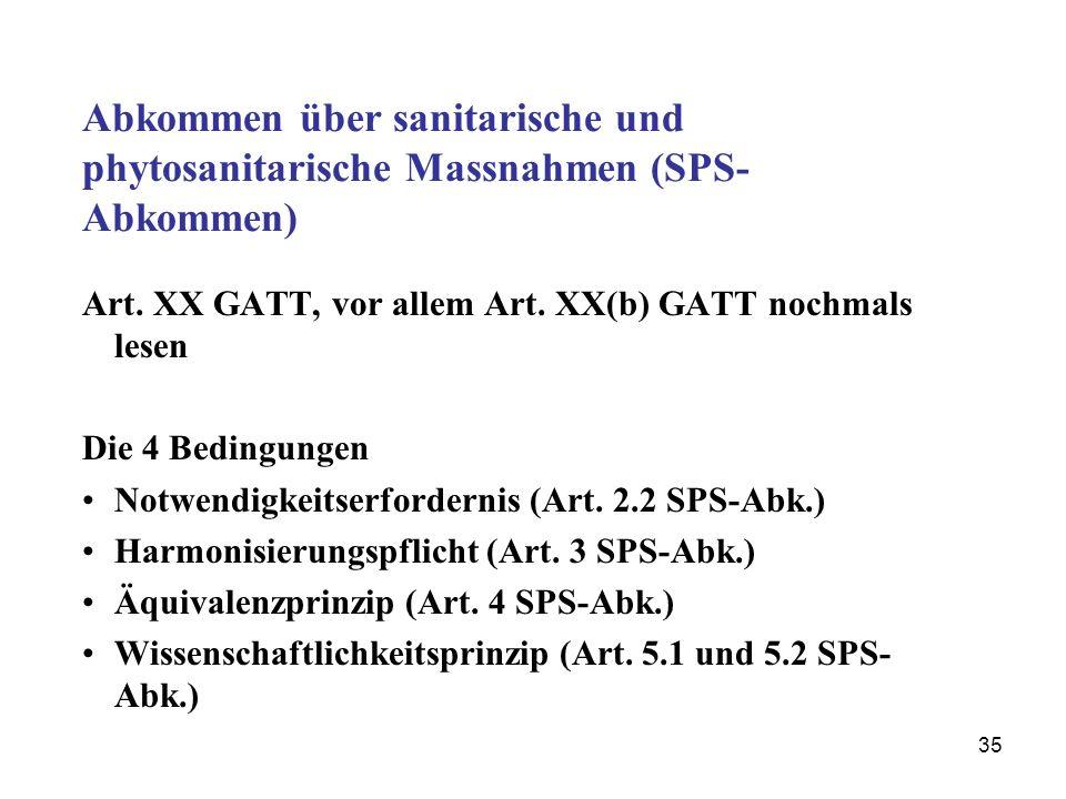 Abkommen über sanitarische und phytosanitarische Massnahmen (SPS-Abkommen)
