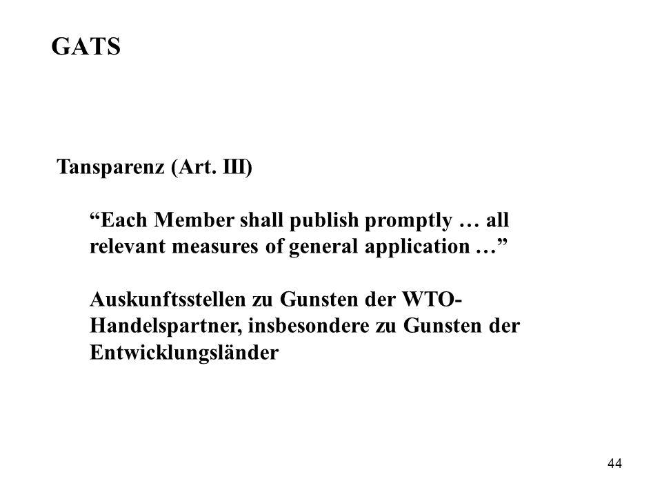 GATS Tansparenz (Art. III)