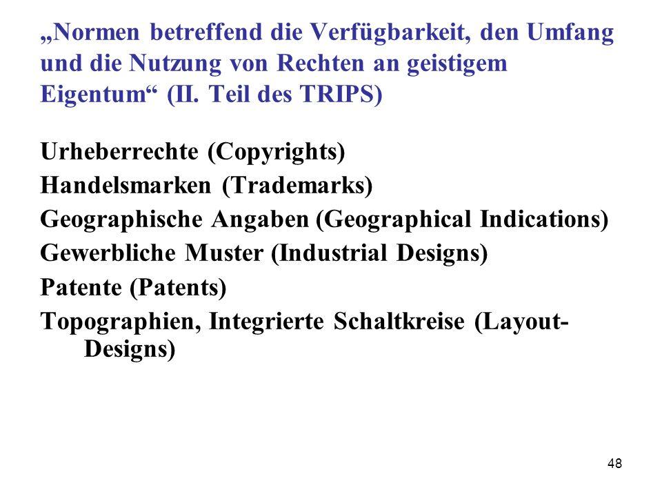 """""""Normen betreffend die Verfügbarkeit, den Umfang und die Nutzung von Rechten an geistigem Eigentum (II. Teil des TRIPS)"""