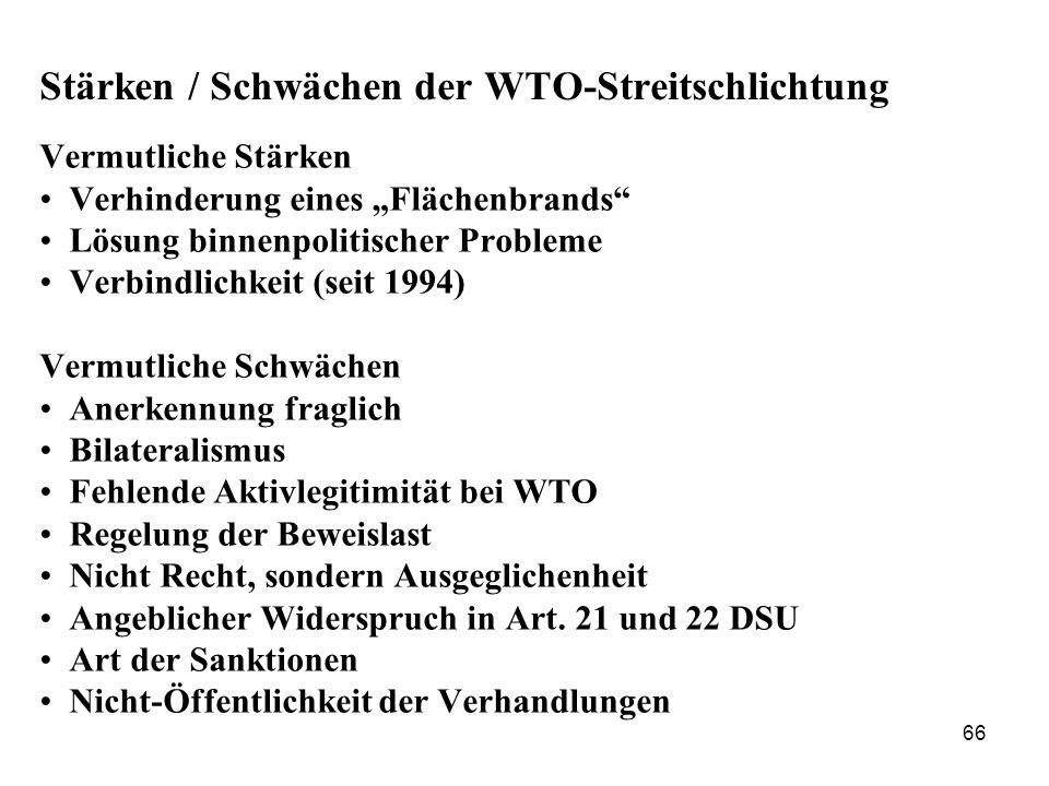 Stärken / Schwächen der WTO-Streitschlichtung