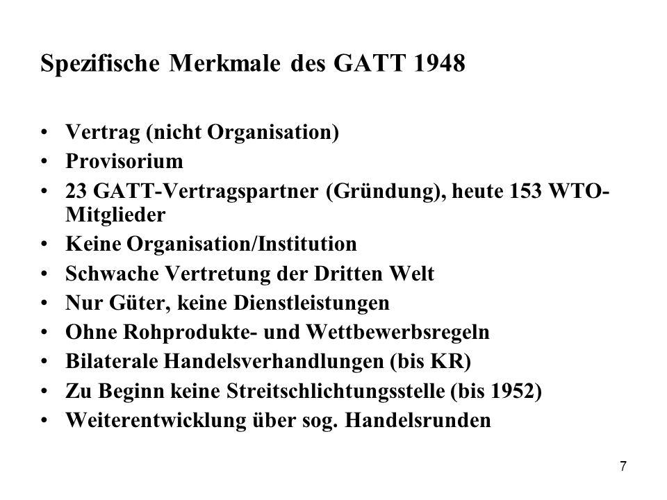 Spezifische Merkmale des GATT 1948