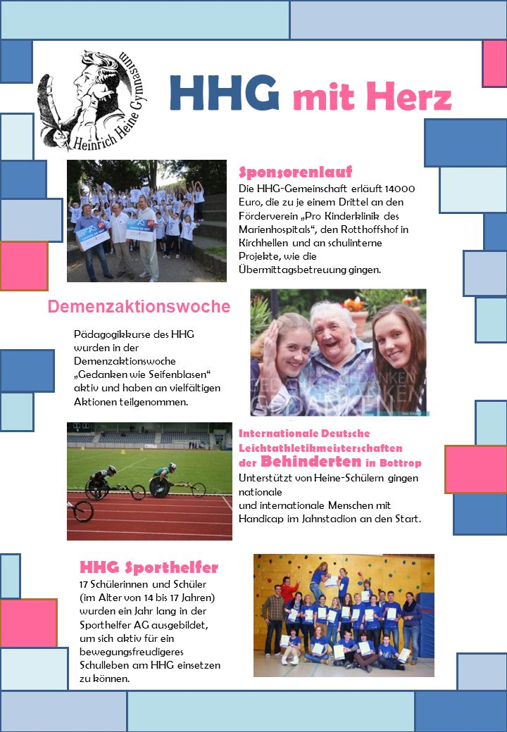 HHG mit Herz Demenzaktionswoche HHG Sporthelfer Sponsorenlauf